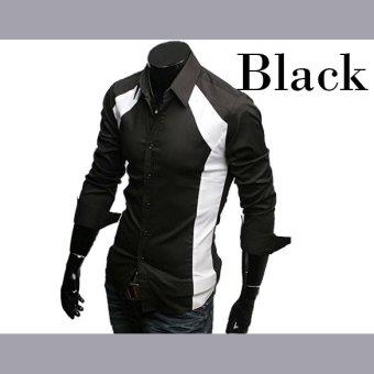 ETOP Mens Luxury Stylish Slim Long Sleeve T-Shirts Black/White(White) (Intl) - 5