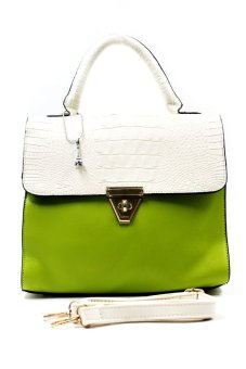 Eunice Hand Bag with Sling (Green/White)