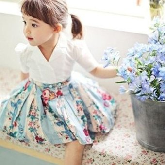 Europe and the United States children's clothing v collar in the sleeves lovely print girl dress - intl