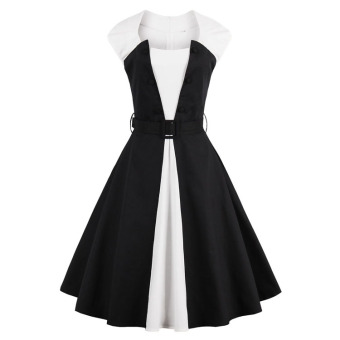 Europe and the United States plus retro black and white meat Slim fit dress expandable dress
