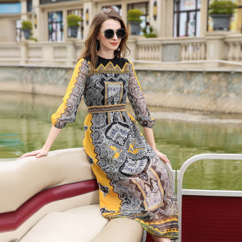 Europe station retro female length sleeves Slim fit temperament dress Print dress