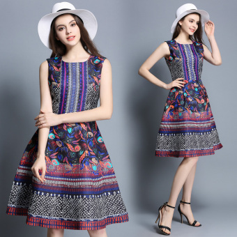 Europe station retro Jacquard long section round neck dress a word skirt