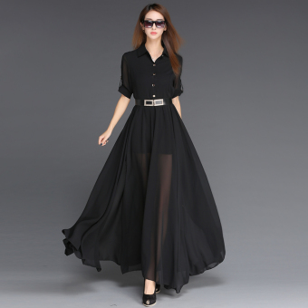 European and American black spring and summer elegant chiffon dress (White)