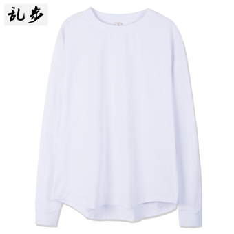 European and American celebrity inspired casual long-sleeved t-shirt (082 solid color long T white) (082 solid color long T white)