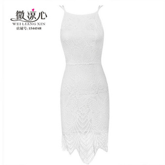 European and American celebrity inspired lace backless Dungaree dress (White lined with (017))