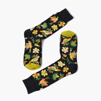 European and American geometric contrasting color for men and women long-barreled socks (Birds flowers)