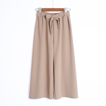 European and American high-waisted women's pants striped wide leg pants (Light khaki)