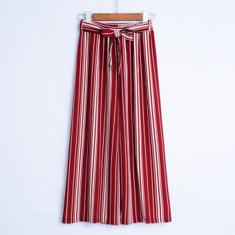 European and American high-waisted women's pants striped wide leg pants (Wine red Small strip)