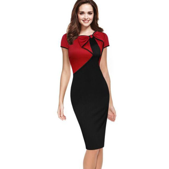 European and American hot bow Slim fit dress pencil dress (Red) (Red)