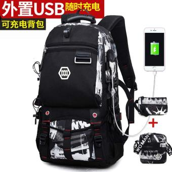 European and American New style travel large capacity school bag (Rechargeable version of the black and white printed with black and white three sets)