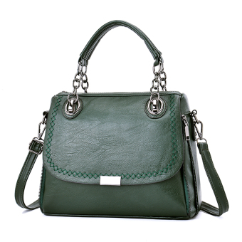 European and American soft leather shoulder women's bag (Dark green color)