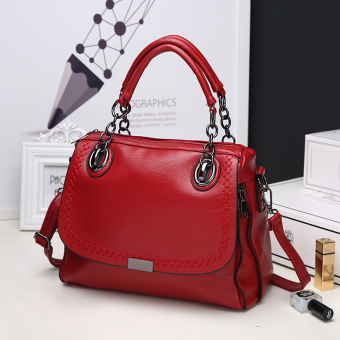 European and American soft leather shoulder women's bag (Wine red color)