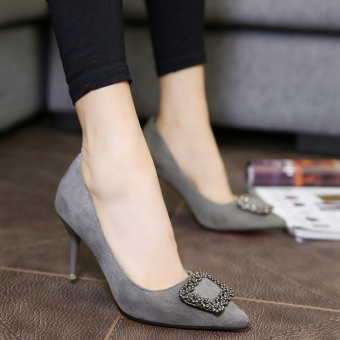 European and American spring pointed fine with the heel shoes Shoes (Gray [with high cm 8cm])