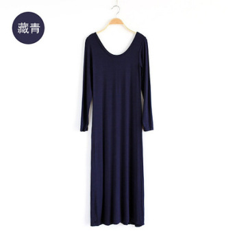 European and American style Modaier spring mop skirt round neck long-sleeved dress (Dark blue color)