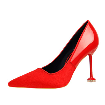 European and American style pointed fine with high with shoes (Red)