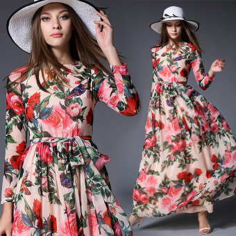 European and American style printed chiffon long-sleeved Slim fit expandable dress