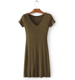 European and American Style Thread cotton Female Summer skirt short sleeved dress (Dark green color)