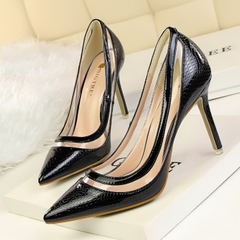 European and American transparent spring and summer fine with shoes Shoes (Black)