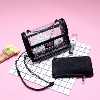 European and American transparent women's jelly small bag Shishang messenger bag (Black)