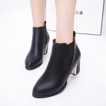 European Boots Women 's Boots Wild Fashion Plain Shoes (Black) Price Philippines