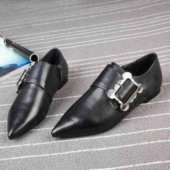European leg autumn New style pointed flat shoes (Black [in shoes])