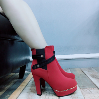 European leg fashion autumn New style Round versatile female shoes (Red)