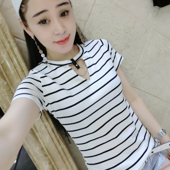 European leg Korean-style black and white female short-sleeved Slim fit Top T-shirt (White)