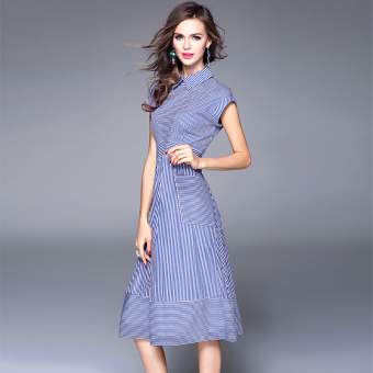 European leg stitching blue Slim fit long section dress