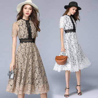 European leg stitching New style temperament lace put on a large dress (Dark blue color)