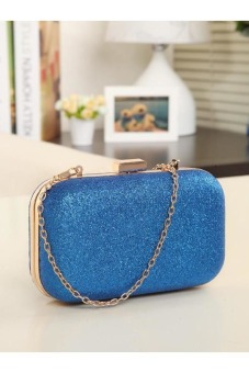 Evening Party Glitter Chain Hand Bags Clutch Box (Blue)