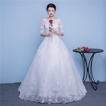 Ever Dresses Ivory Lace Wedding Dress Embroidery Half Sleeve Bridal Gown with Train - intl