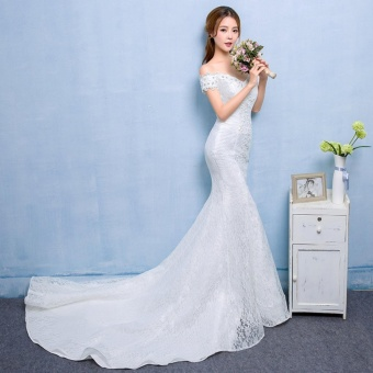 Ever Dresses Sexy Backless Wedding Lace Meramid BeadedCourt Train Gowns