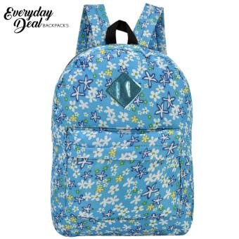 Everyday Deal Dex Unisex Casual School Backpack (Flowers/Blue)