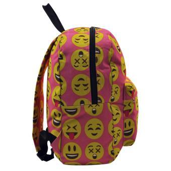 Everyday Deal Emoji Fashion Backpack School Casual Daypack Bag(Pink) - 4