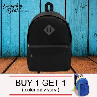 Everyday Deal Ron Unisex Fashion School Backpack Bag (Black) Buy 1Get 1