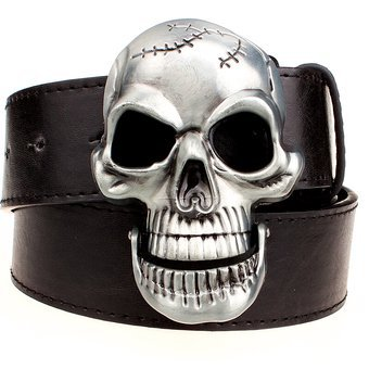 Exaggeration men's belt Big skull belt metal buckle skull beltsSkeleton men punk rock belt performance hip hop girdle
