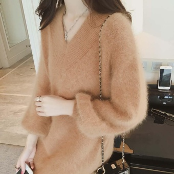 Fall and Winter Clothes Women's Sweaters Female Long Section LongSleeves Sweater Dress Brown - intl