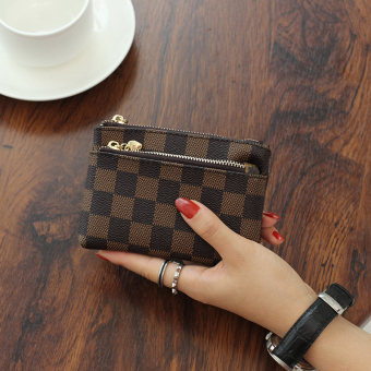 Famous European and American female mini small wallet New style handbag (PARK'S color plaid)
