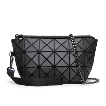 Famous New style celebrity inspired geometric matte Lingge small bag women's bag (Black)