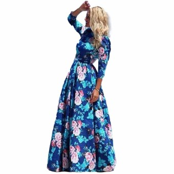 Fancyqube Casual Cute Bohemian Maxi Summer Dress Blue Price Philippines