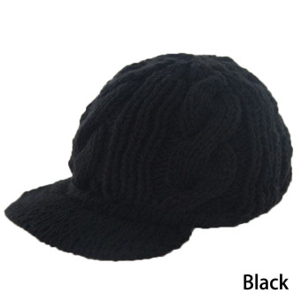 Fancyqube Elegant Knitting Wool Crochet Braided Flat Brim Cap Black
