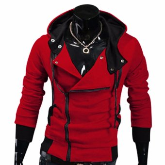 Fancyqube explosion of Assassin s Creed sweater oblique zipper hooded jacket Red - intl