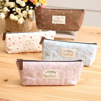 Fancyqube Floral Canvas Pencil / Stationery Bag Pink - picture 2