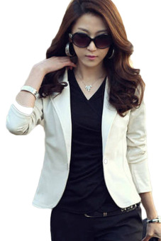 Fancyqube New Trendy Slim Blazer Women ELEGANT LAPEL ONE BUTTON LONG SLEEVE Blazer Woman SHORT SUIT Jacket Lady BLAZER COAT White