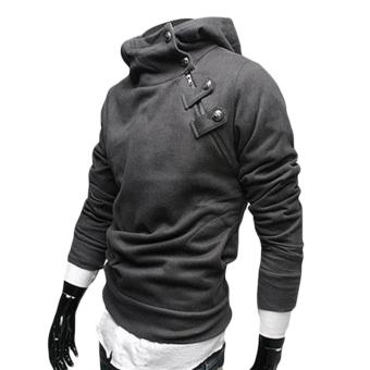 Fancyqube Suspension Metal Buckles Fleece Hoodie Jacket Dark Grey