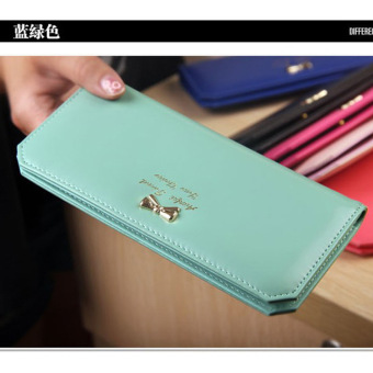 Fang Fang cute wallet for teen girls Wome PU Leather Bowknot ClutchWallet Long Card Holder - green