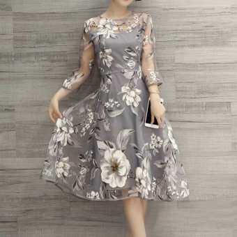 Fang Fang Floral O-Neck Sexy 3/4 Sleeve Slim Long Party Dress (Floral ) - intl