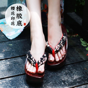 Fanny rubber non-slip high-heeled Japanese-style wood slippers (Cotton black cherry (spot goods))