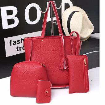Fashion 4 in 1 Jingpin PU Leather Shoulder Bag Set Red)
