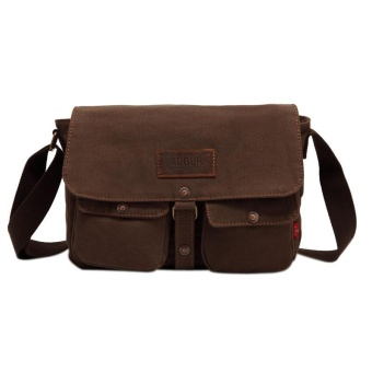 Fashion All-matching Leisure Unisex Canvas Traveling Bag MessengerBag Coffee - intl